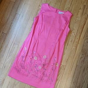 Danny & Nicole Hot Pink Embroidered Floral Dress
